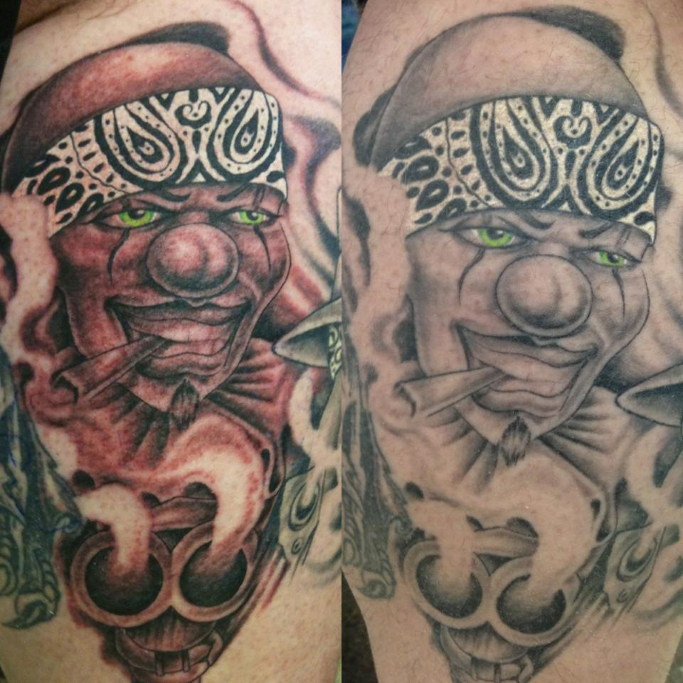 Before And After Smoking Gangsta Clown Tattoo