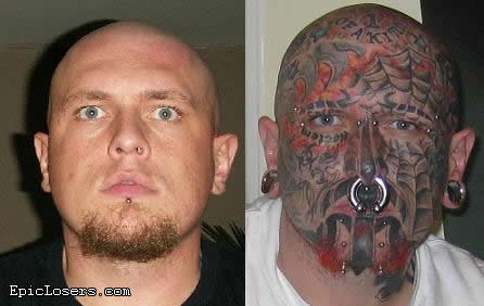 Before And After Weird Extreme Tattoo On Men Face