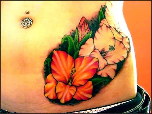 Belly Piercing Hot Girl Show Nice Gladiolus Flower Tattoo