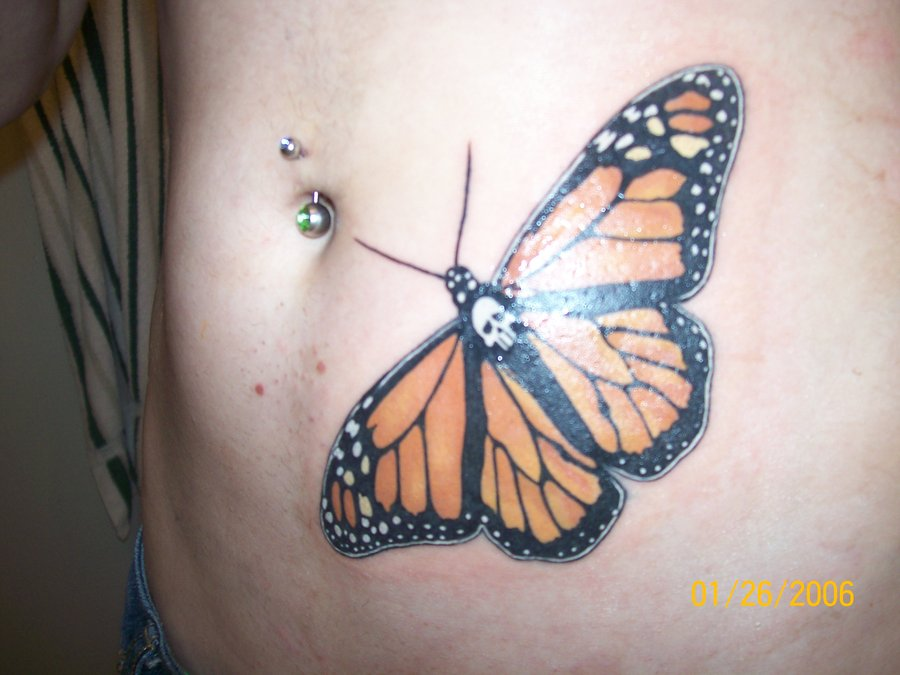 Belly Piercing Monarch Butterfly Tattoo On Rib Side