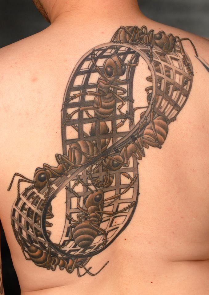 Big Ants On Amazing Escher Mobius Tattoo For Back