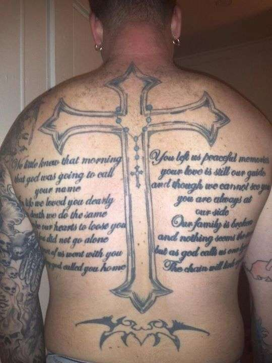 Big Cross With Full Back Long Poem Tattoo