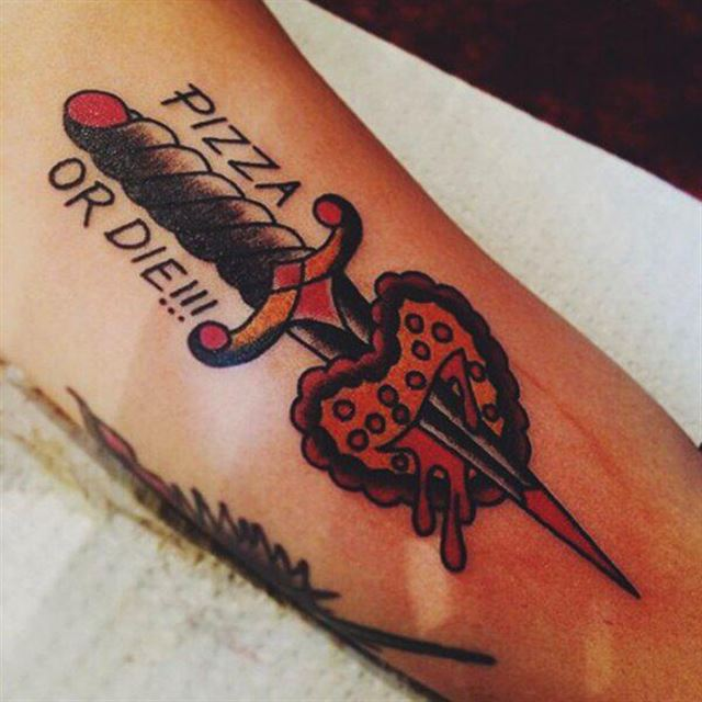 Big Dagger In Nice Pizza Tattoo