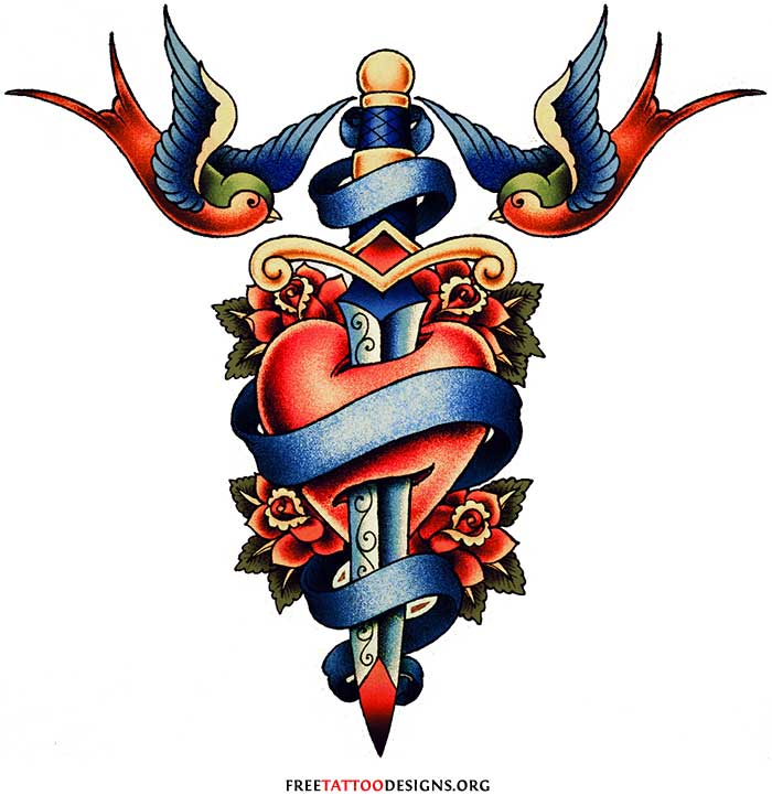 Big Dagger In Old School Red Heart Tattoo Design With Flying Nice Swallow