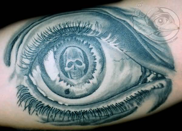 Big Escher Eye With Skull Tattoo