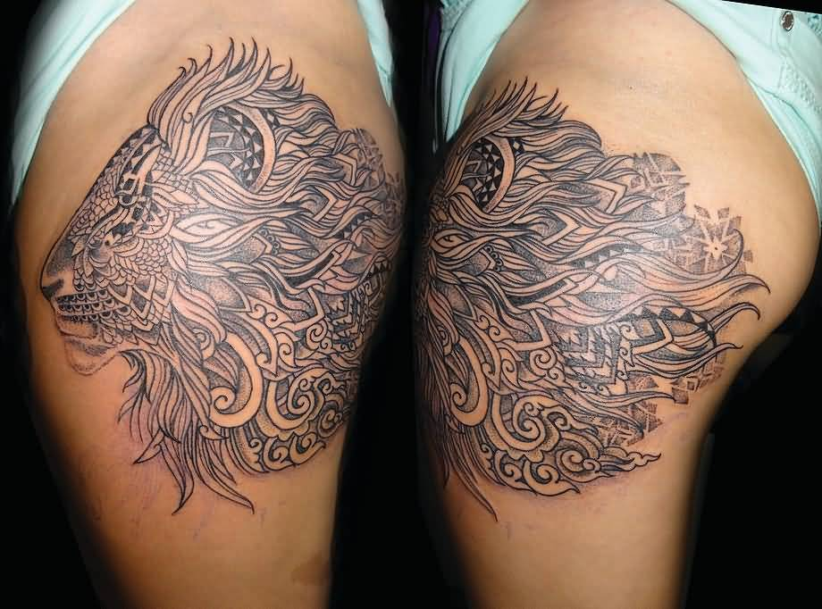 Big Hair Paisley Pattern Lion Face Tattoo On Shoulder