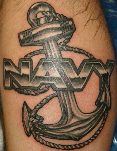 Big Navy Anchor With Rope Tattoo Design Idea