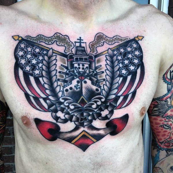 Big Navy Anchor With Ship Design With Stars Tattoo