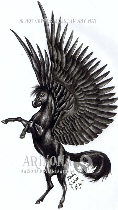 Big Wings Amazing Pegasus Tattoo Design Idea Stencil