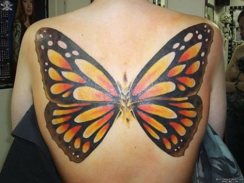Big Wings Monarch Butterfly Tattoo Design On Back