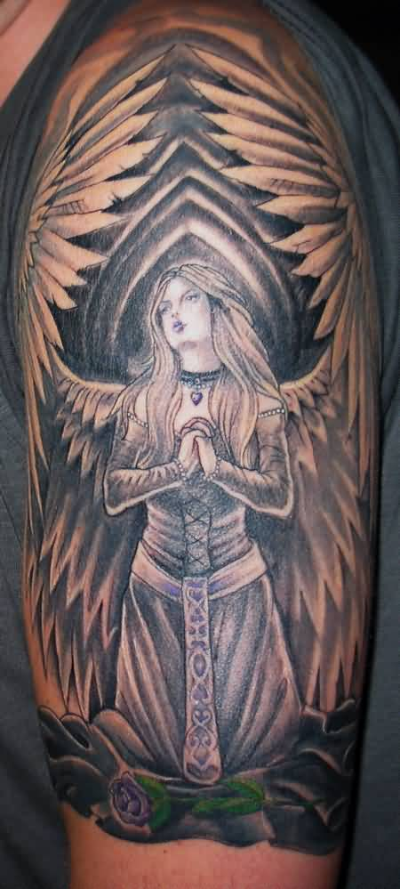 Big Wings Nice Wings Close Hands Praying Angel Tattoo Design For Sleeve