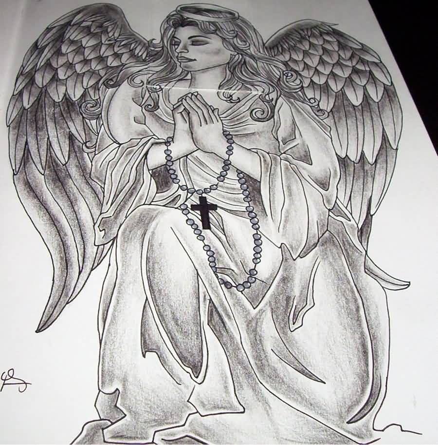 Big Wings Praying Angel Tattoo