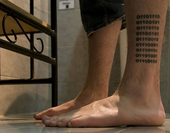 Binary Amazing Computer Numbers Tattoo Design For Leg
