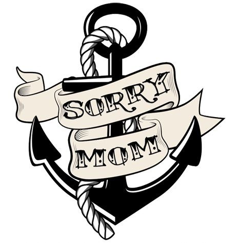 Black Anchor With Sorry Mom Banner Tattoo