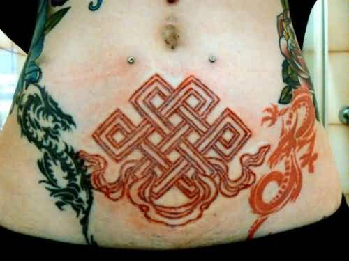 Black And Red Tribal Style Dragon With Red Ink Nice Endless Knot Tattoo