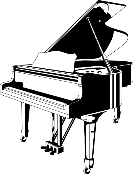 Black And White Ink Awesome And Nice Grand Piano Tattoo Design