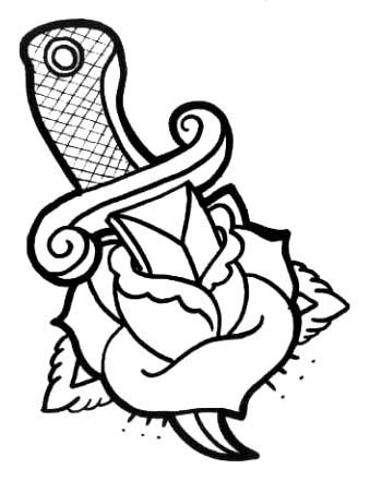 Black And White Ink Nice Dagger In Beautiful Rose Tattoo Stencil