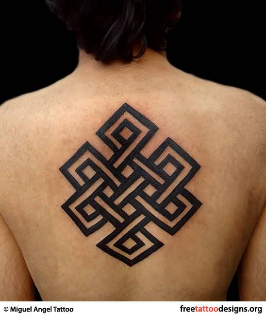 Black Dark Ink Nice Endless Knot Tattoo On Upper Back