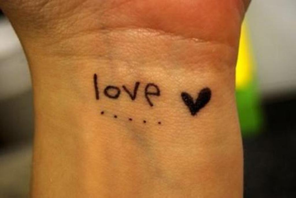Black Heart Simple Love Tattoo On Wrist