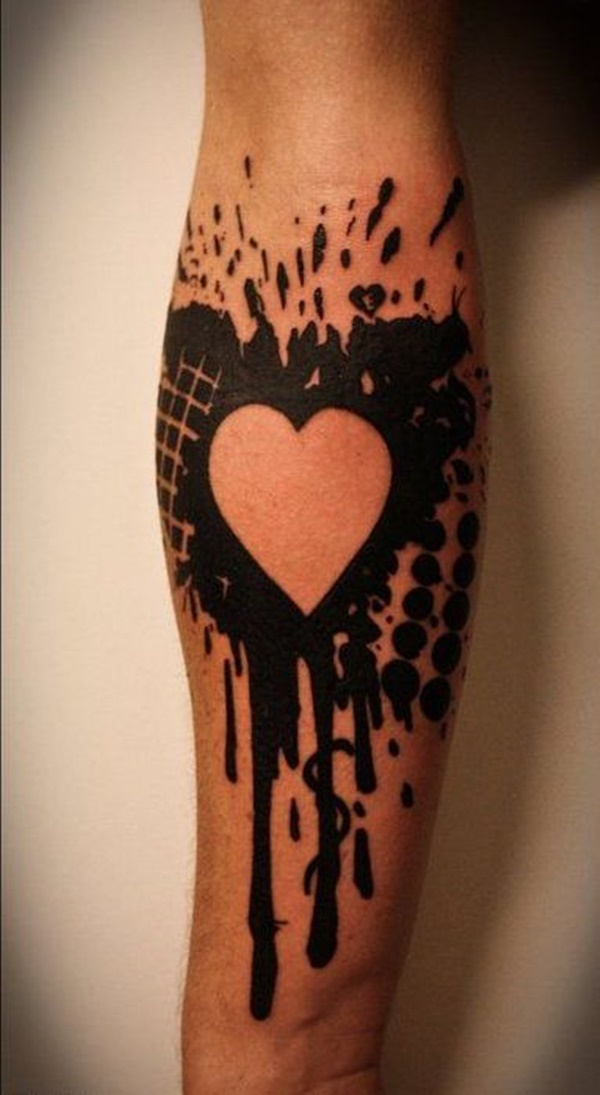 Black Ink Blot Heart tattoo
