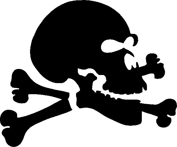 Black Ink Bones Skull Jolly Roger Tattoo