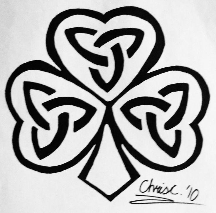 Black Ink Celtic Knot Shamrock Heart Tattoo Design Stencil