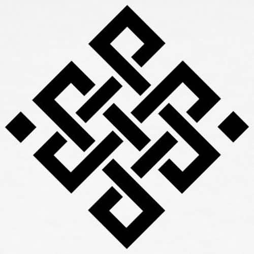 Black Ink Cool Stencil Of Endless Knot Tattoo