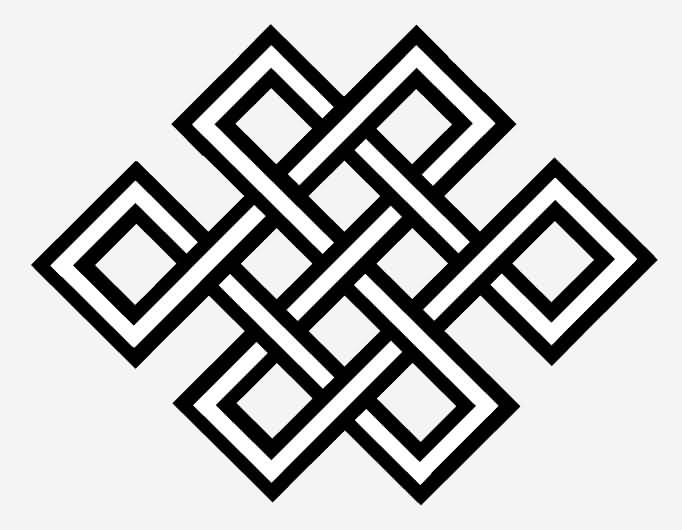Black Ink Endless Knot Tattoo Design With Nice Grey Background