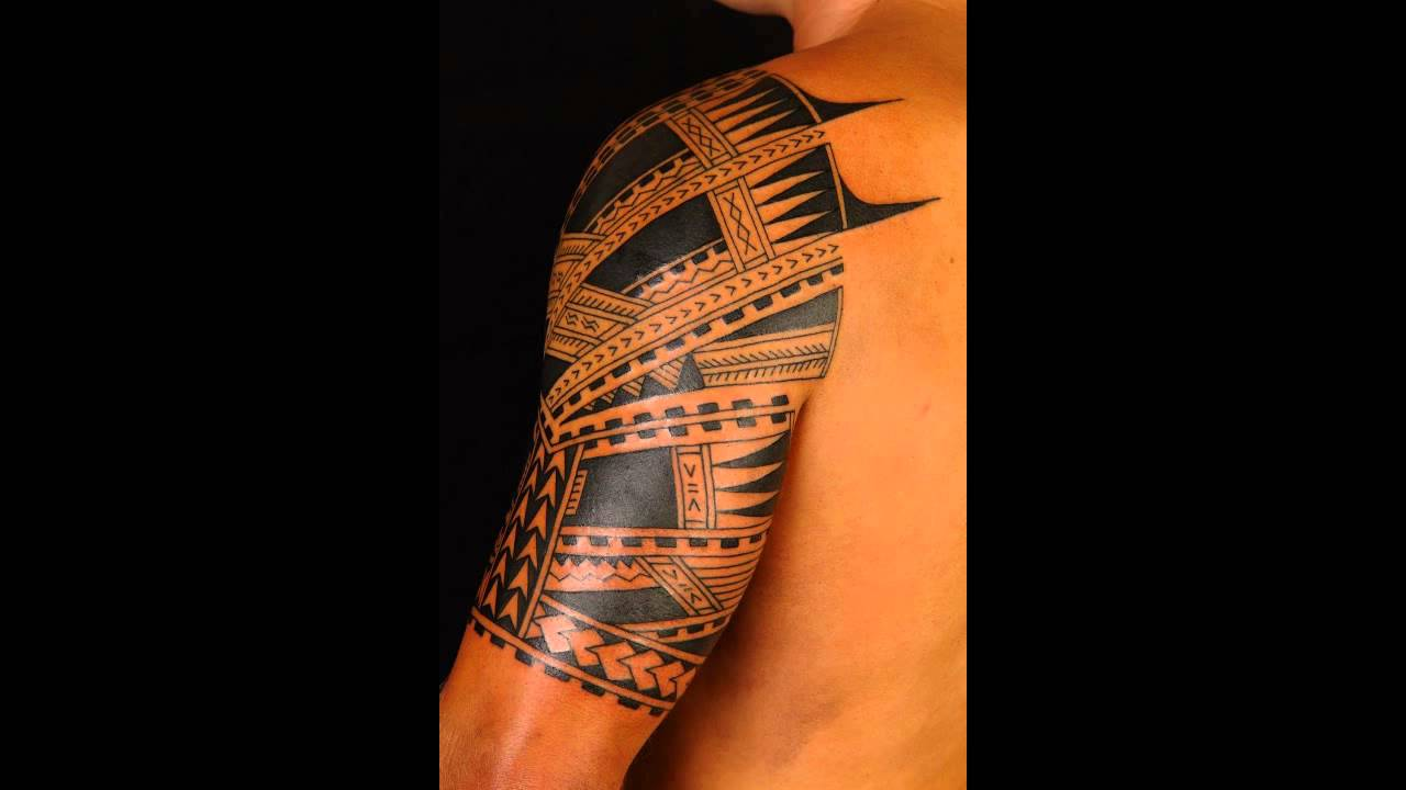 Black Ink Half Sleeve Samoan Tattoo