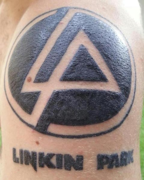 Black Ink Linkin Park Letter And Symbol Tattoo