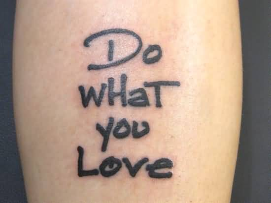 Black Ink Love Text Tattoo