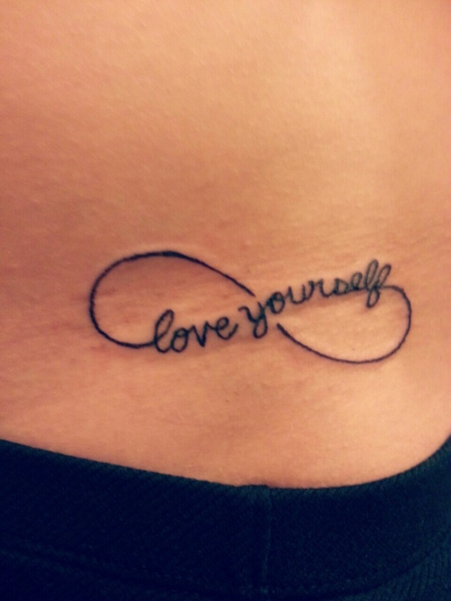 Black Ink Love Yourself Tattoo For Girl