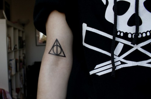 Black Ink Lower Sleeve Deathly Hallows Circle Tattoo
