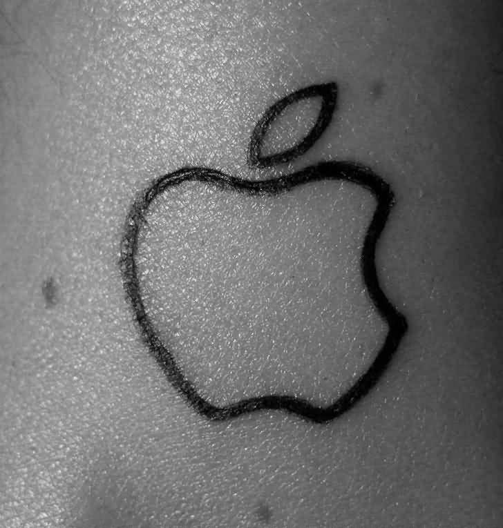 Black Ink Nice And Amazing Apple Logo Tattoo Design (2)