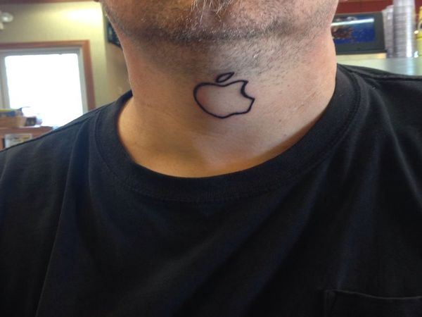 Black Ink Nice And Amazing Apple Logo Tattoo Design