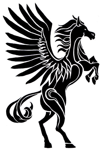 Black Ink Nice And Amazing Pegasus Tattoo Design