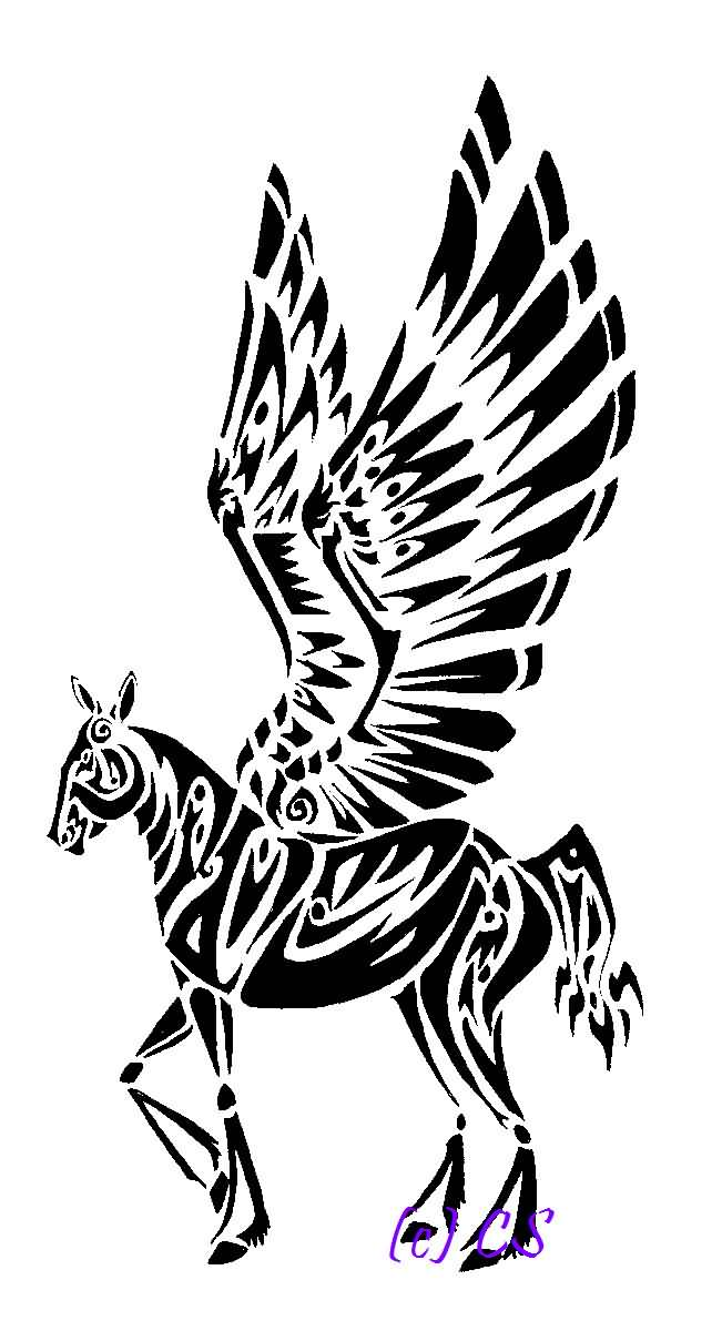Black Ink Nice And Amazing Pegasus Tattoo Stencil