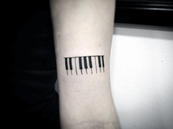 Black Ink Nice And Simple Piano Keys Tattoo Design