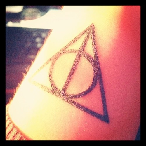 Black Ink Nice Deathly Hallows Tattoo Design