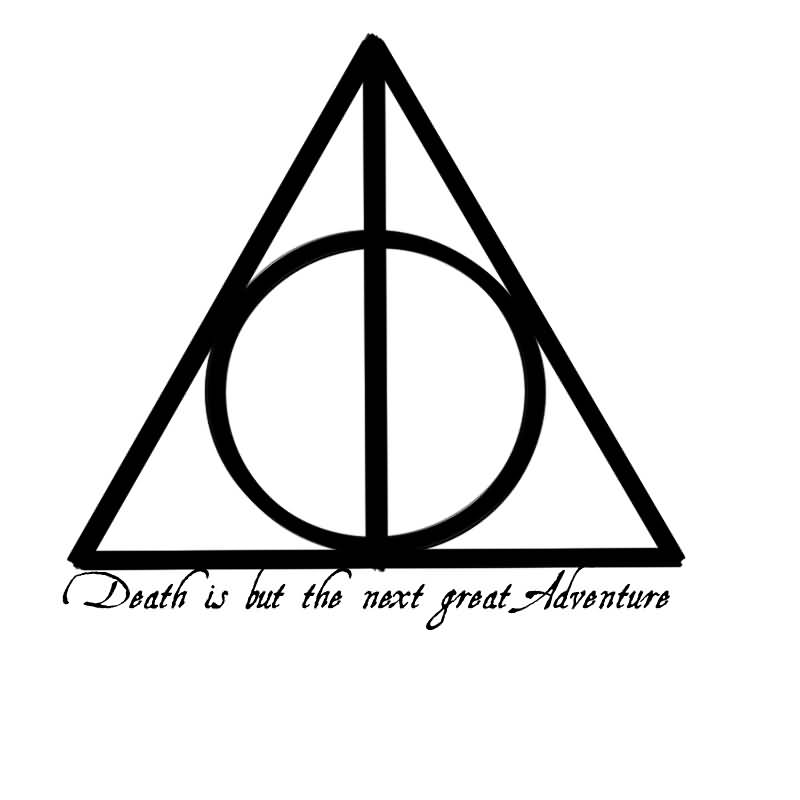 Black Ink Nice Deathly Hallows Tattoo Stencil