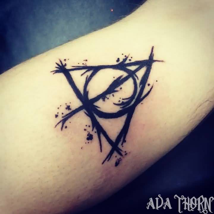 Black Ink Nice Deathly Hallows Tattoo