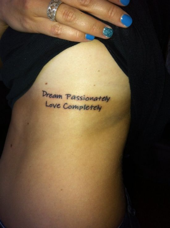Black Ink Nice Dream Love Quote Tattoo