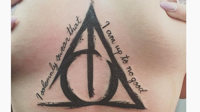 Black Ink Nice Hallows Tattoo Design With Letters For Girl