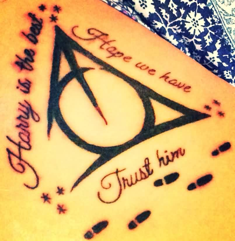 Black Ink Nice Hallows Tattoo Design