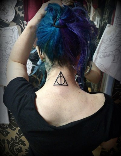 Black Ink Nice Hallows Tattoo Make On Nape