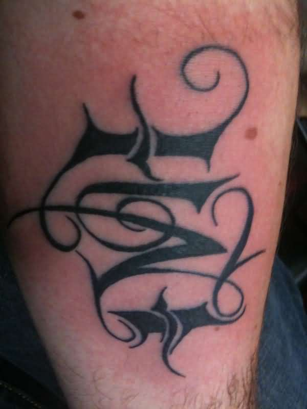 Black Ink Nice Love Double Letters Tattoo