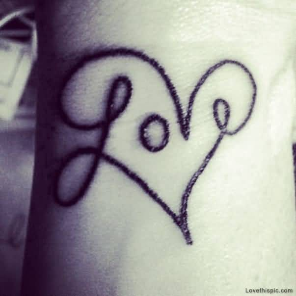 Black Ink Nice Love Heart Tattoo On Wrist