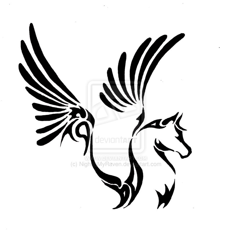 Black Ink Nice Pegasus Tribal Tattoo Design