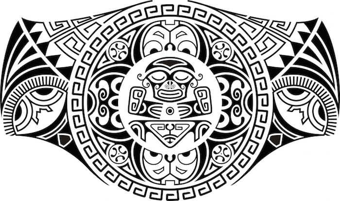Black Ink Nice Samoan Tattoo Stencil