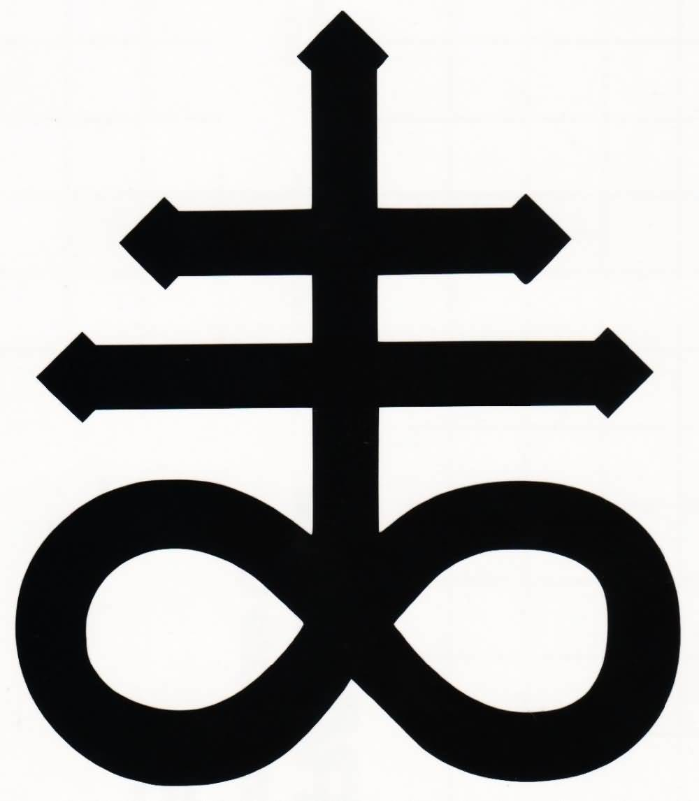 Black Ink Nice Satan Symbol Tattoo Design